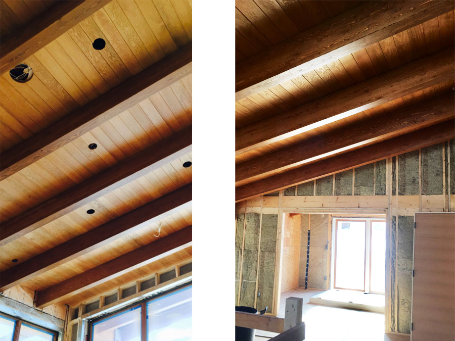 Ceiling construction detail on Harmon Estates project by Mettler Construction in Merritt
