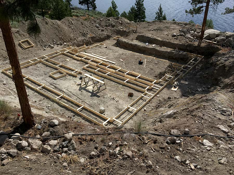 Laying out the footings of Nicola Lakeshore project by Mettler Construction Company in Merritt, BC