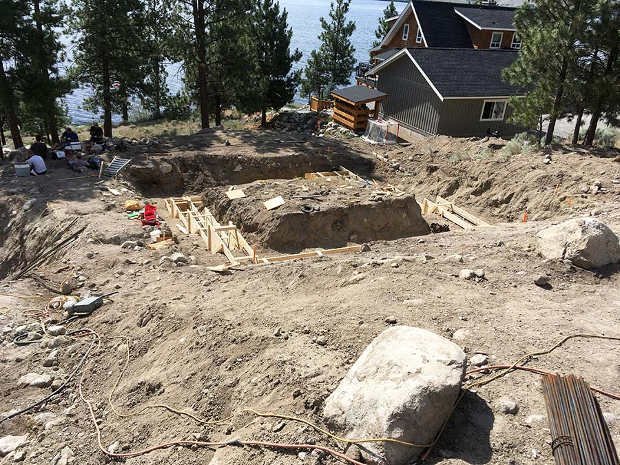 Digging foundation of Nicola Lakeshore project by Mettler Construction Company in Merritt, BC