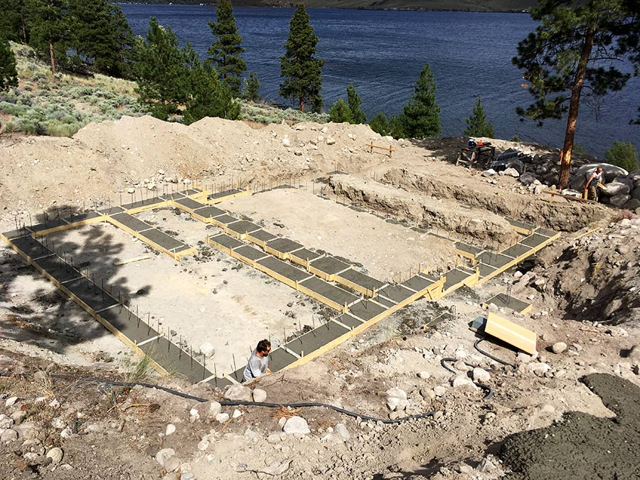 Pouring footings of Nicola Lakeshore project by Mettler Construction Company in Merritt, BC
