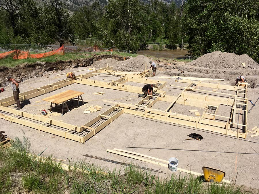 Framing in the foundation at the Fir Road project for Mettler Construction in Merrit
