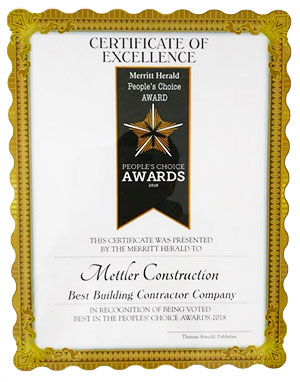 Mettler Construction Peoples Choice award for Best Construction Company