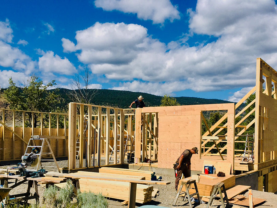 Walls going up on the Fir Road Project by Mettler Construction in Merritt BC