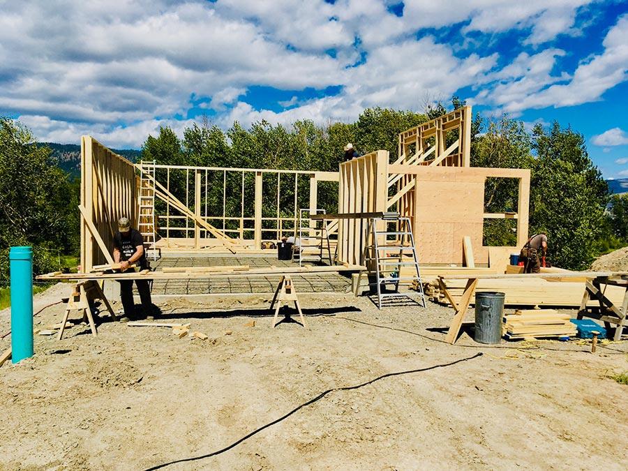 Mettler Construction crew framing the Fir Road project in Merritt, BC