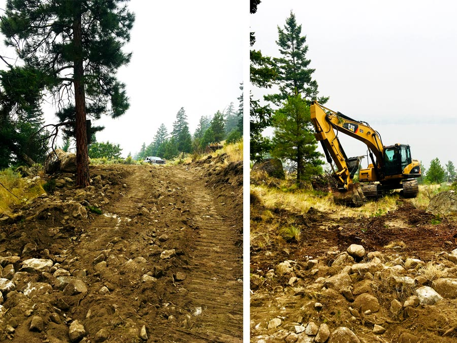 Breaking ground at Monck Park Road project by Mettler Construction in Merritt, BC