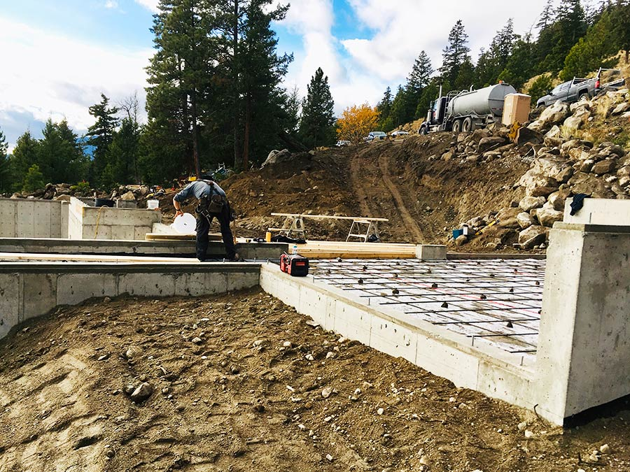 Prepping basement and garage floors at Nicola Lakeshore Estates project by Mettler Construction in Merritt, BC