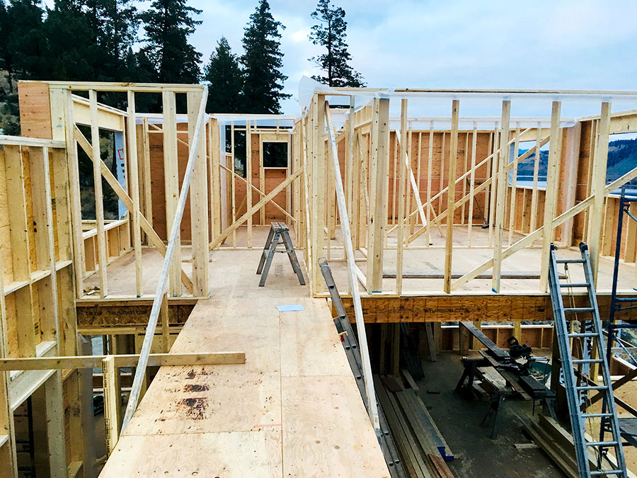 Framing at Nicola Lakeshore Estates project by Mettler Construction in Merritt BC