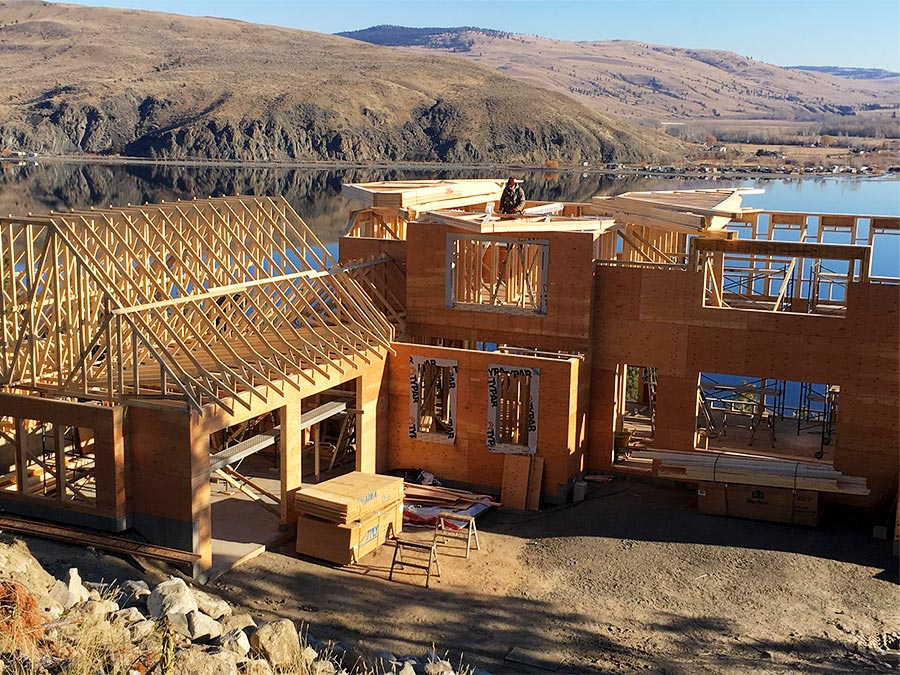 working on roof trusses at the Nicola Lakeshore Estates project by Mettler Construction in Merritt BC