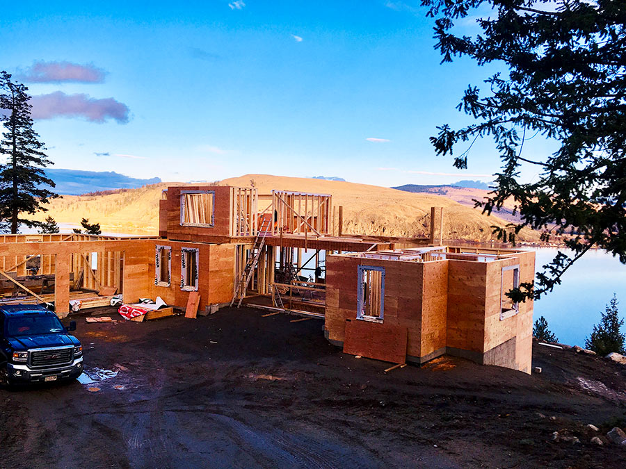 Walls up for the day at Nicola Lakeshore Estates project by Mettler Construction in Merritt BC