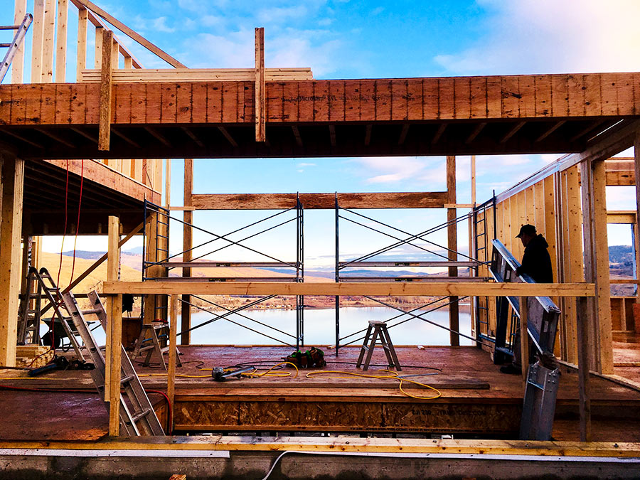 Framer at work on the Nicola Lakeshore Estates project by Mettler Construction in Merritt BC