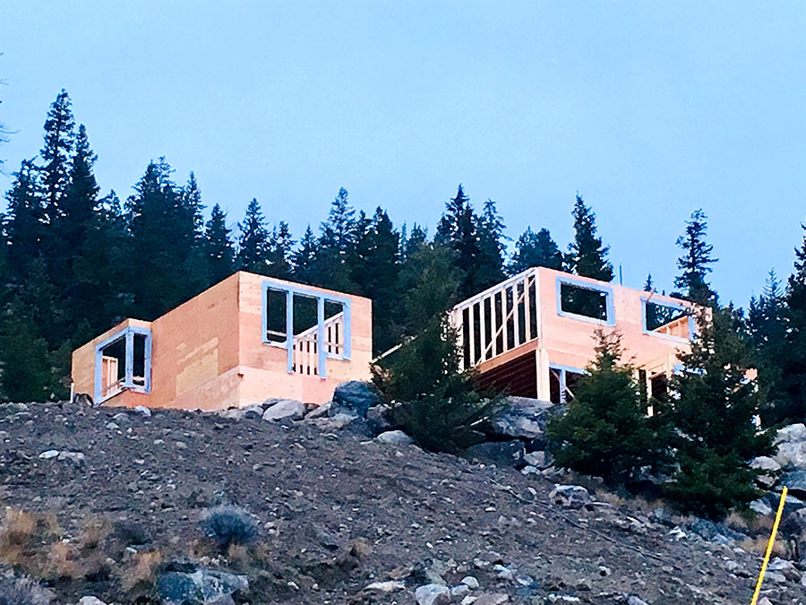 framing progress at Nicola Lakeshore Estates project by Mettler Construction in Merritt BC