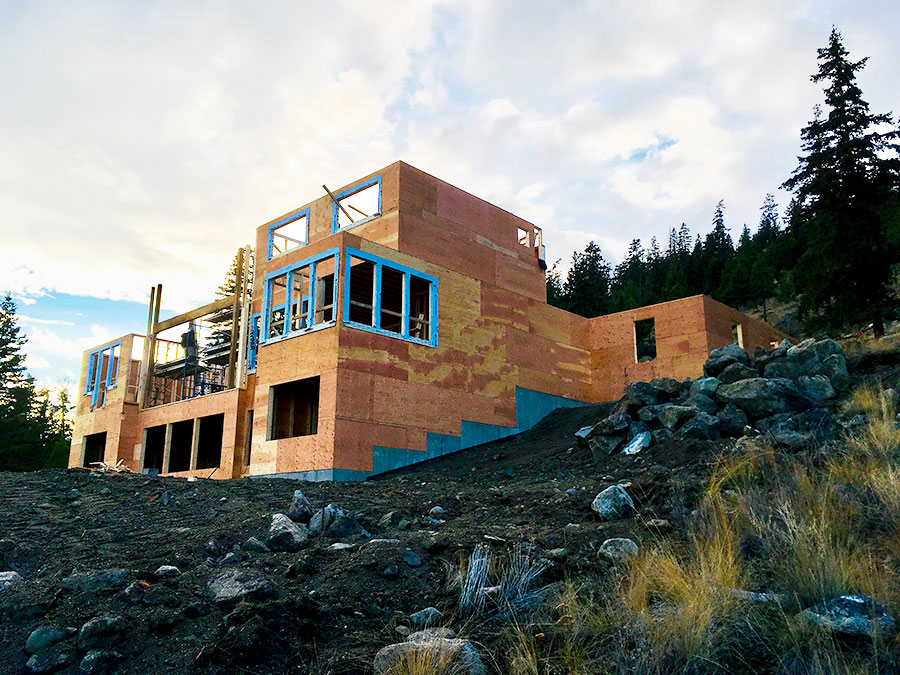 Side view of framed in Nicola Lakeshore Estates project by Mettler Construction in Merritt BC