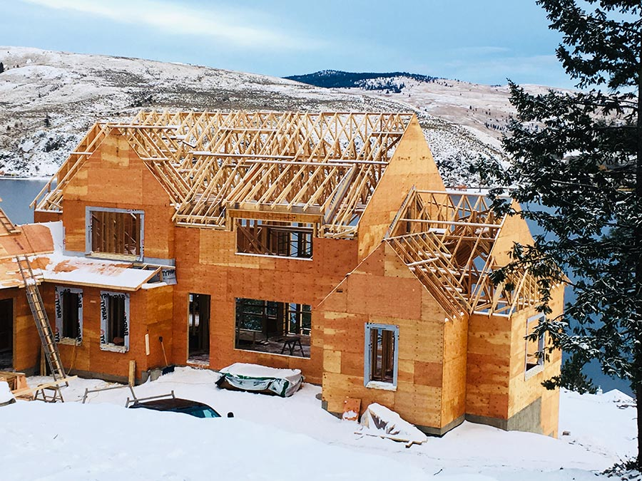 Nicola Lakeshore Estates project by Mettler Construction in the snow in Merritt, BC