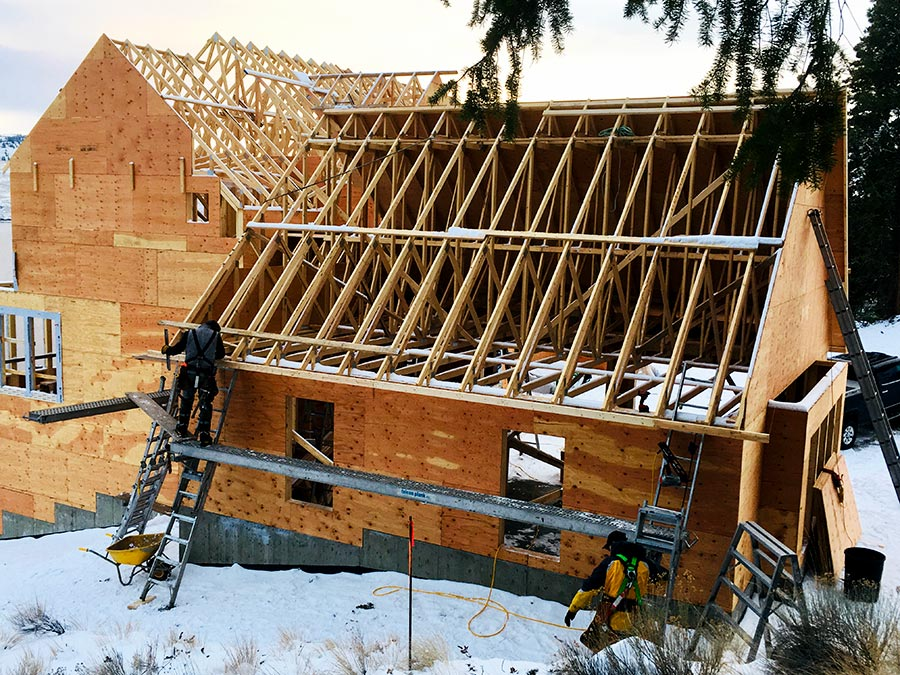 View of roof trusses at the Nicola Lakeshore Estates project by Mettler Construction in Merritt BC