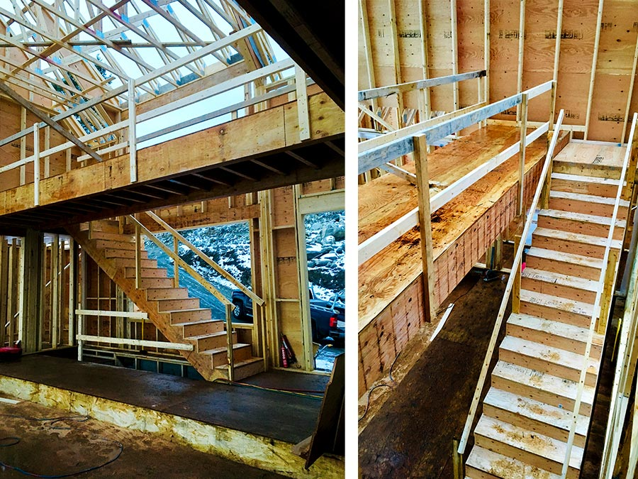 Working on the stairs at the Nicola Lakeshore Estates project by Mettler Construction in Merritt BC