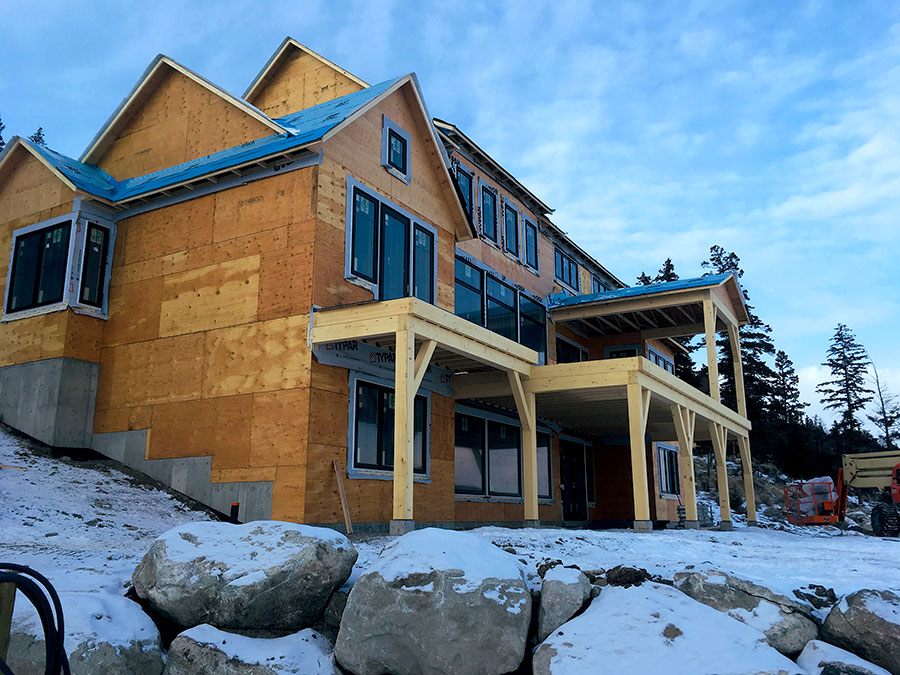 Windows in place at Nicola Lakeshore Estate project by Mettler Construction Ltd in Merritt, BC