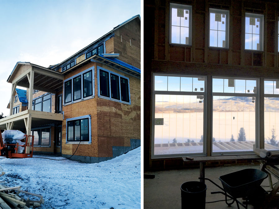 Windows going in at Nicola Lakeshore Estate project by Mettler Construction Ltd in Merritt, BC