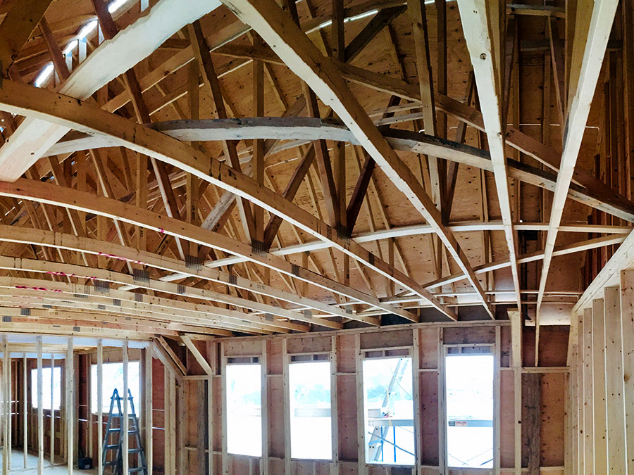 Ceiling trusses at Nicola Lakeshore Estate project by Mettler Construction Ltd in Merritt, BC