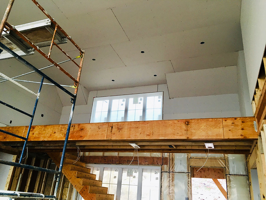 Working on the interior at Nicola Lakeshore Estate project by Mettler Construction Ltd in Merritt, BC