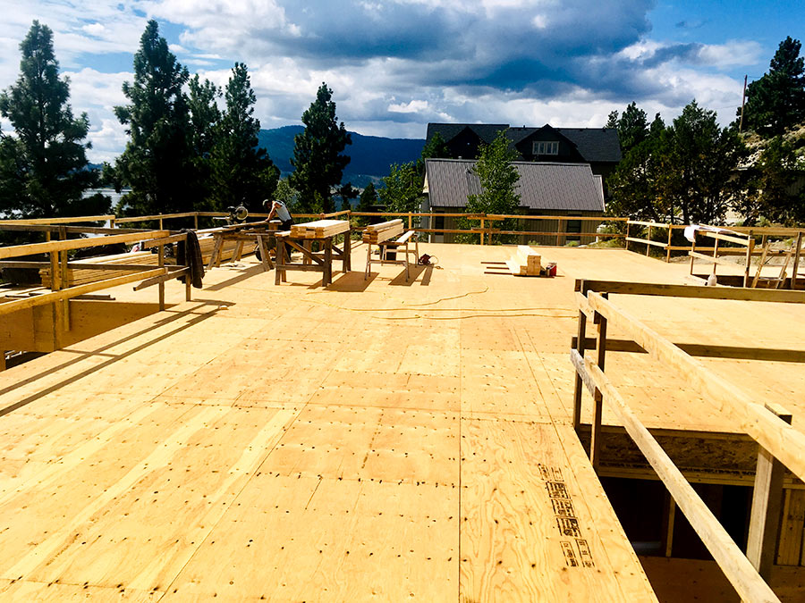 Mettler Construction workers framing new project at Nicola Lakeshore Estates in Merritt, BC